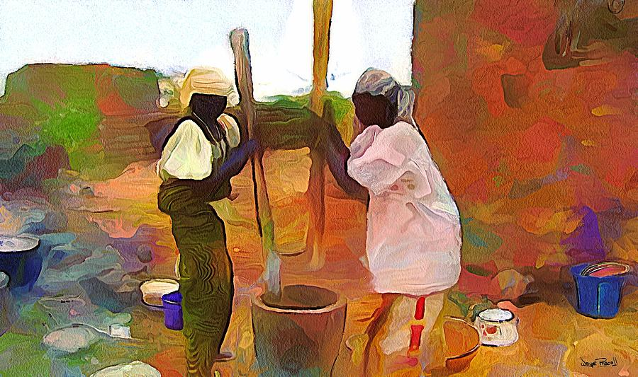 AFRICAN SCENES - Mortar and Pestle by Wayne Pascall