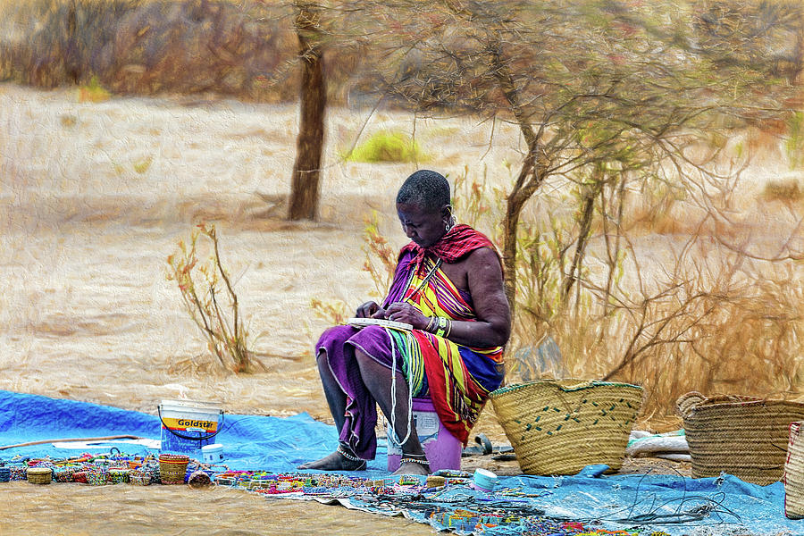 Maasai Woman By the Roadside by Kay Brewer