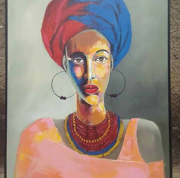 African Woman Painting By Violette Mars