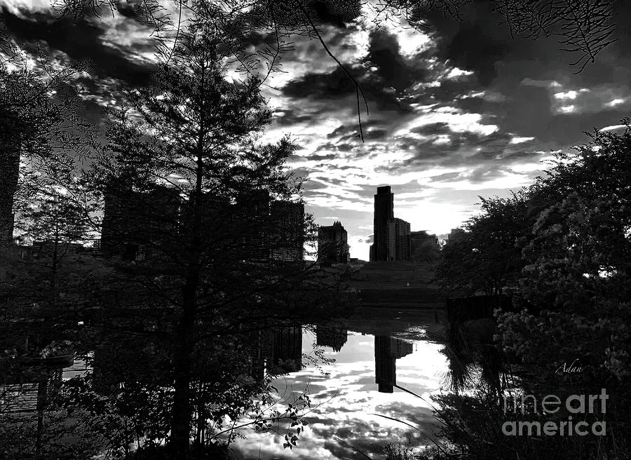 Butler Park Photograph - After A Spring Rain Austin Sunrise Skyline From Butler Park Blackwhite by Felipe Adan Lerma