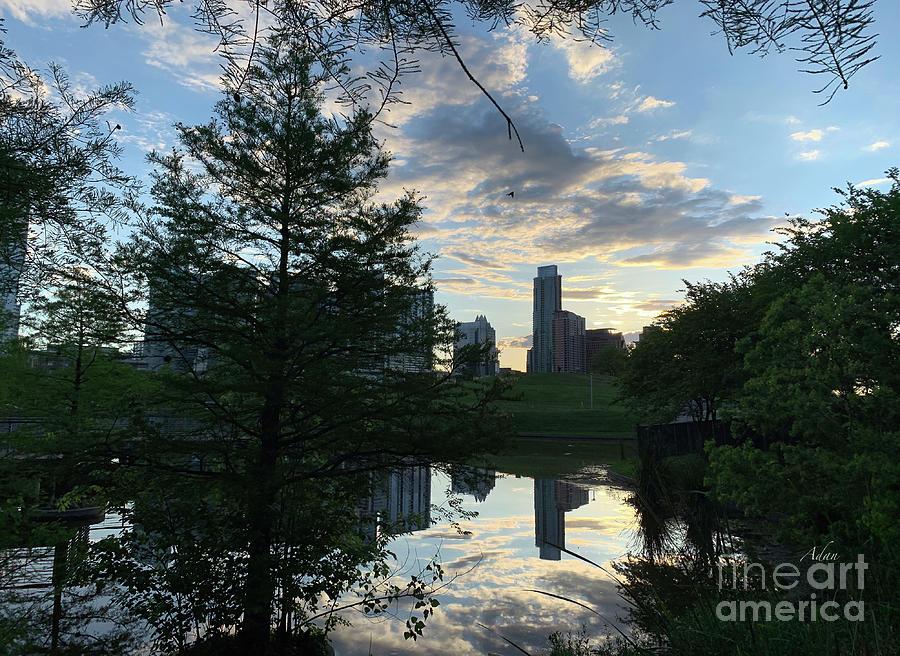After A Spring Rain Austin Sunrise Skyline From Butler Park Photograph