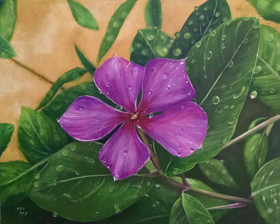 Vinca Painting - After Rain by Helian Osher