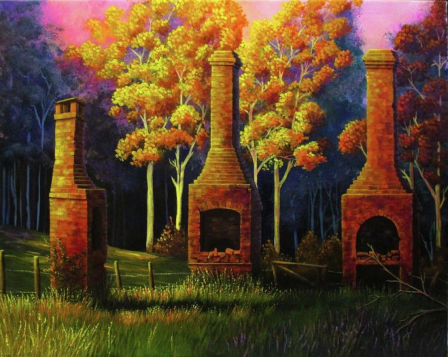Afterglow, old chimneys Wollombi, Austrlaia by Debra Dickson