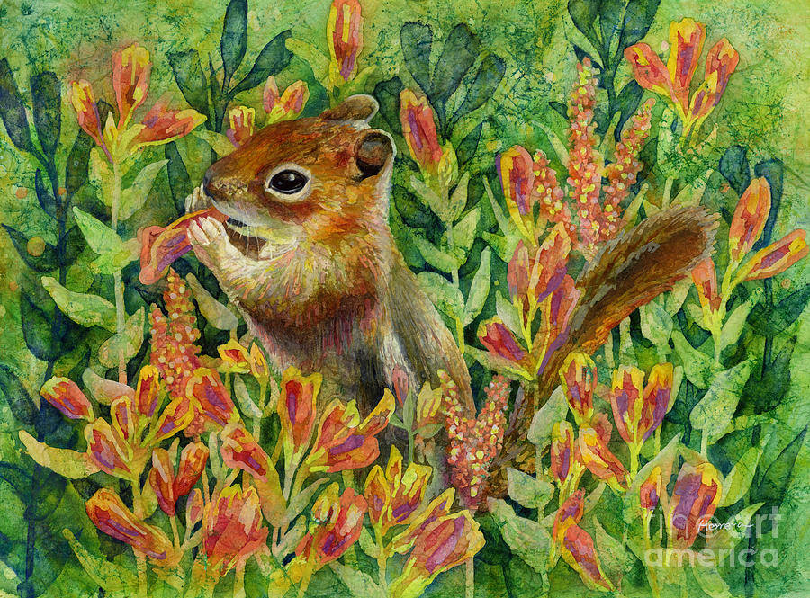 Chipmunk Painting - Afternoon Feast by Hailey E Herrera