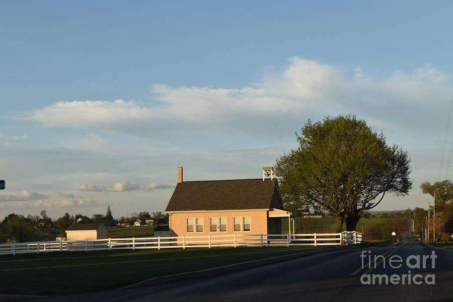 Afternoon Sun Shines On a Schoolhouse by Christine Clark