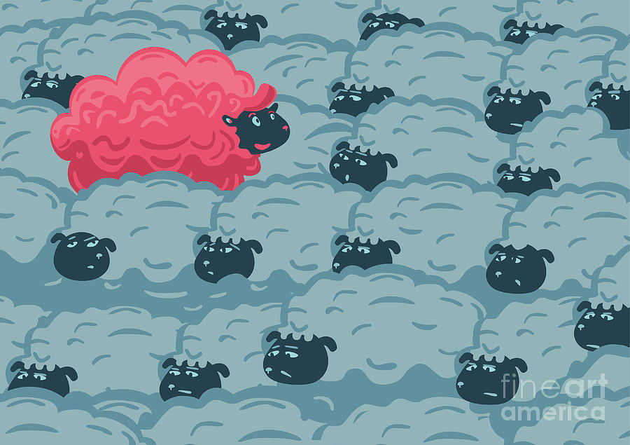 Flock Digital Art - Against The Crowd One Pink Sheep by Ne2pi