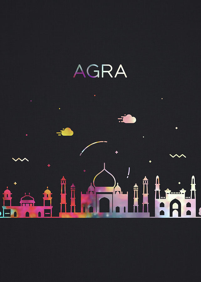 Agra Mixed Media - Agra India City Skyline Whimsical Fun Dark Tall Series by Design Turnpike