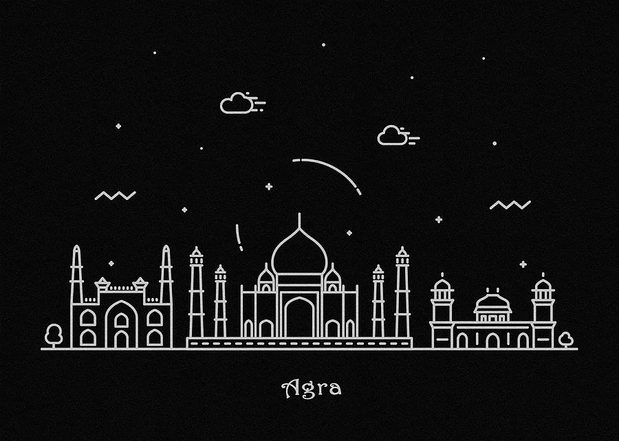 Agra Drawing - Agra Skyline Travel Poster by Inspirowl Design