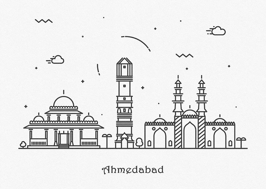 Ahmedabad Digital Art - Ahmedabad Cityscape Travel Poster by Inspirowl Design