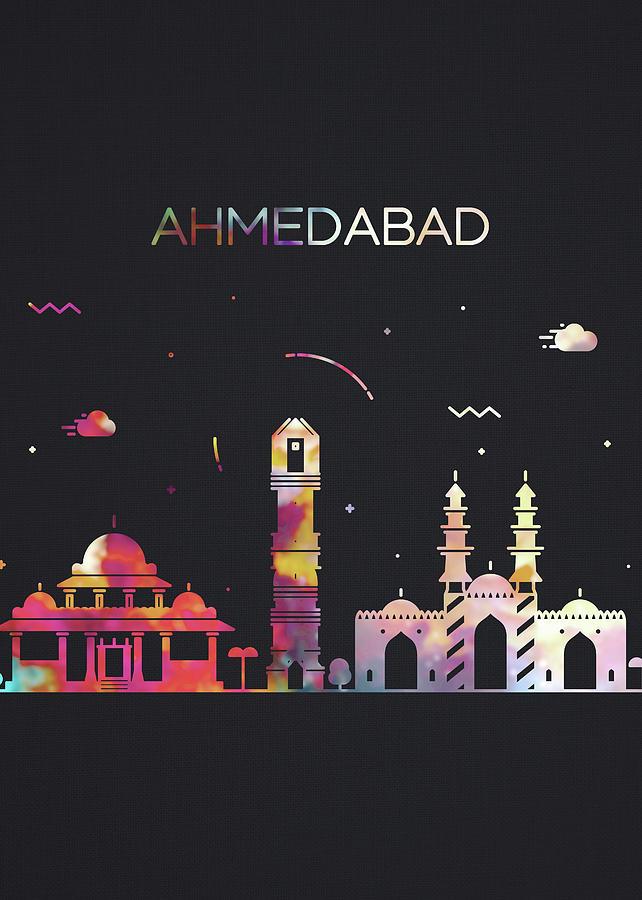 Ahmedabad Mixed Media - Ahmedabad India City Skyline Whimsical Fun Dark Tall Series by Design Turnpike
