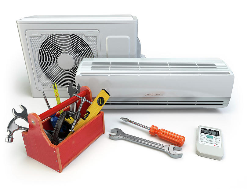 Air Conditioning Tools >> Air Conditioner With Toolbox And Tools Repair Of Air Conditioner Concept