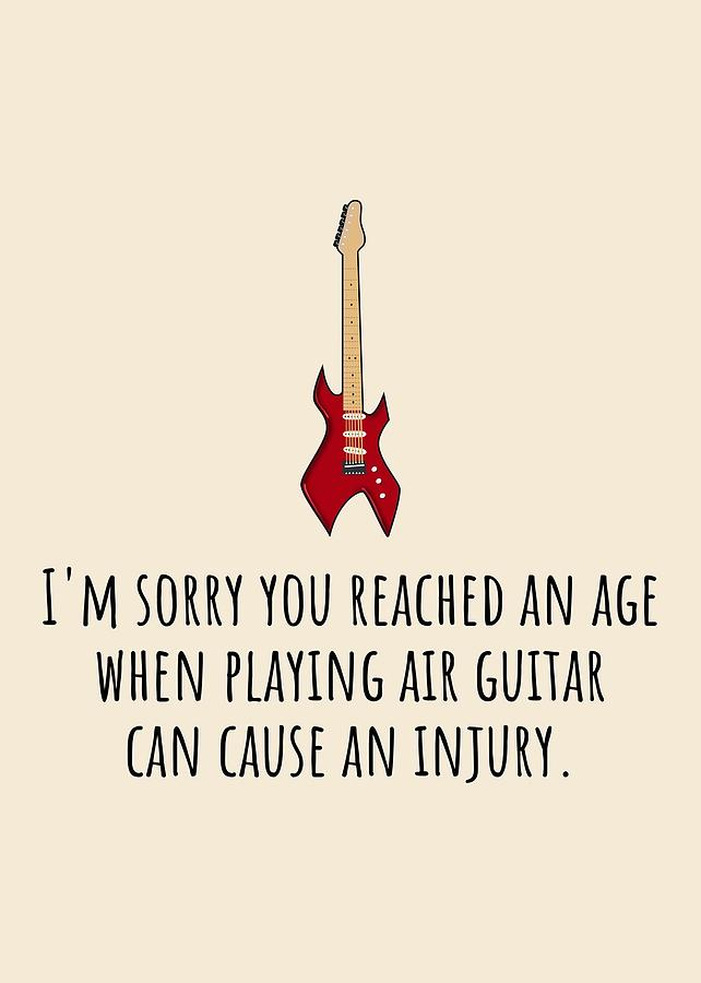 Air Guitar Birthday Card - Sarcasm Birthday Card - Guitar Player Card - Guitarist Greeting Card - Gr Digital Art by Joey Lott