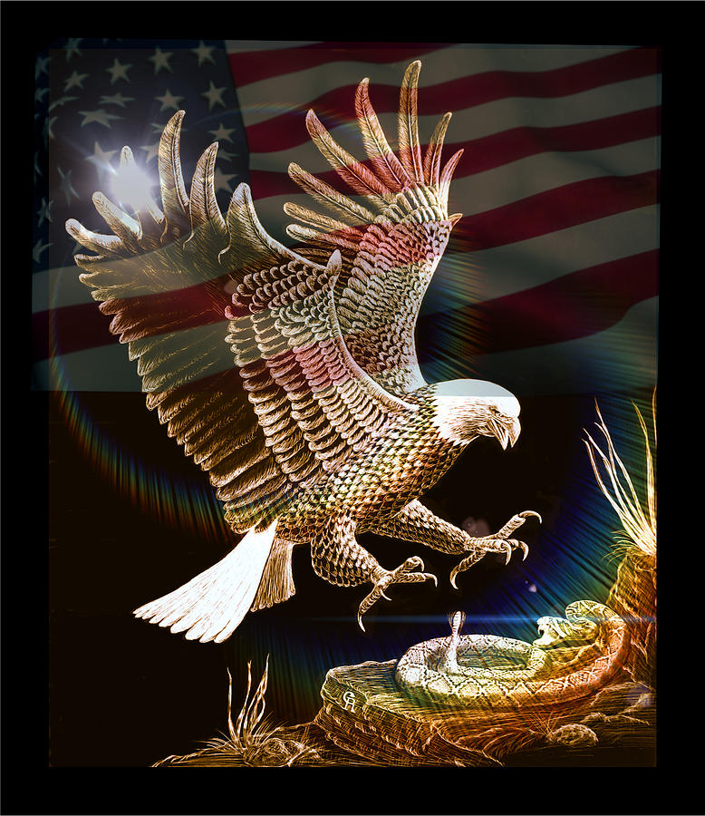 Eagle Mixed Media - Air Superiority-patriotic Eagle by Gary F Richards