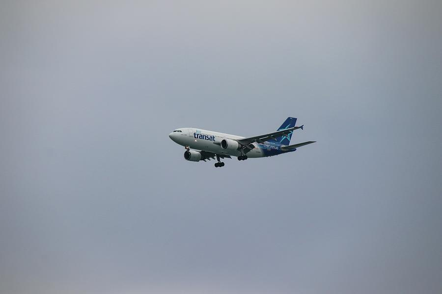 Air Transat Plane in Flight by Marlin and Laura Hum