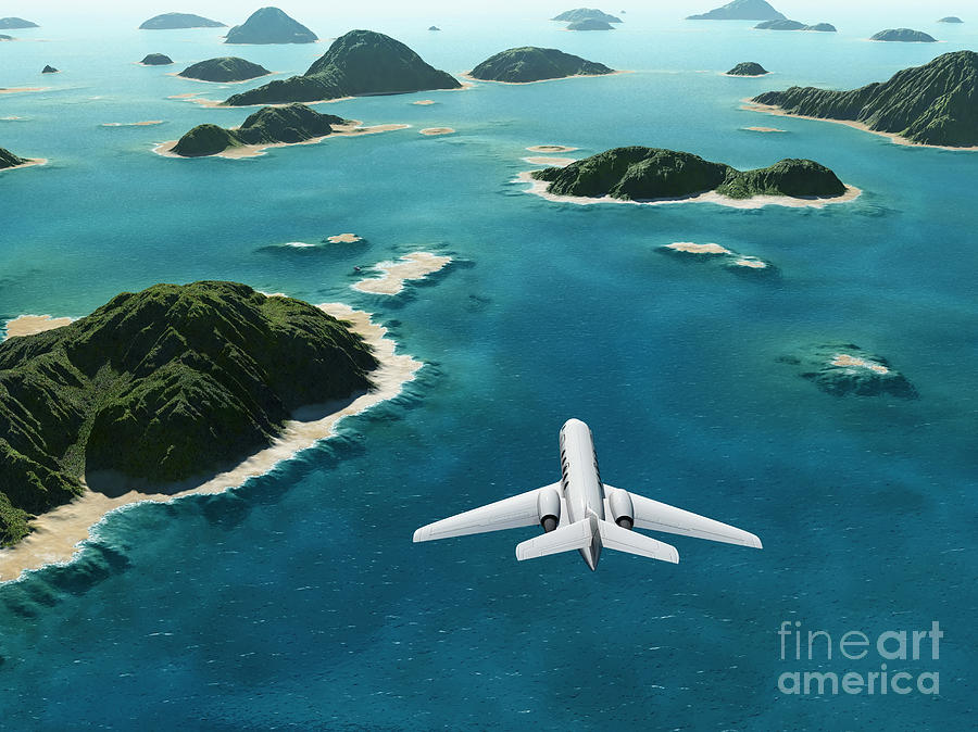 Atmosphere Digital Art - Aircraft Flies Over A Sea by Photobank Gallery