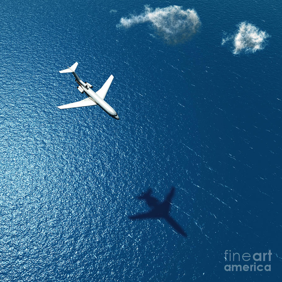 Atmosphere Photograph - Airplane Flies Over A Sea by Photobank Gallery