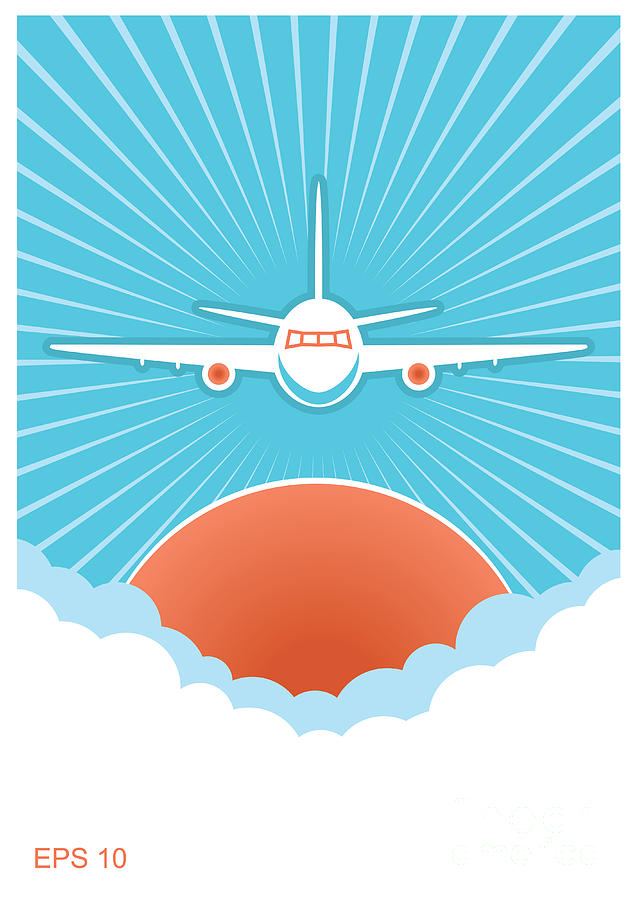 Plane Digital Art - Airplane In Blue Sky And Sun.vector by Tancha