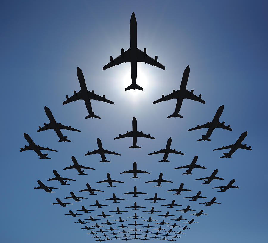 Airplane Silhouettes Fly In V Formation Photograph by Georgo