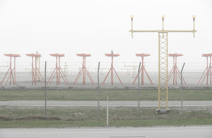 Airport Runway In Fog Photograph by Sindre Ellingsen