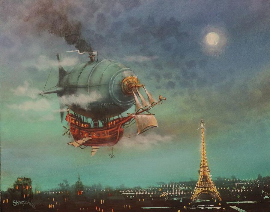 Airship Over Paris by Tom Shropshire