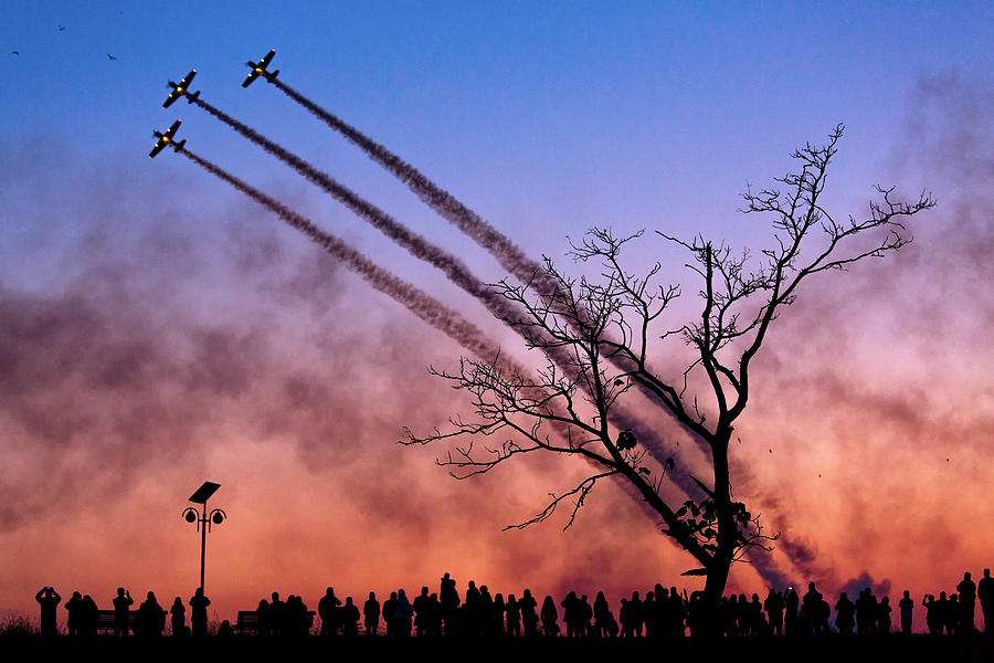 Action Photograph - Airshow In Bucharest, Romania by Dan Mirica