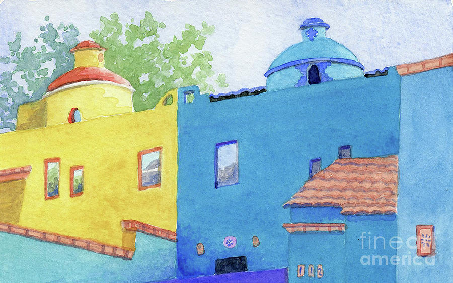 Ajijic Blue and Yellow Houses by Anne Marie Brown