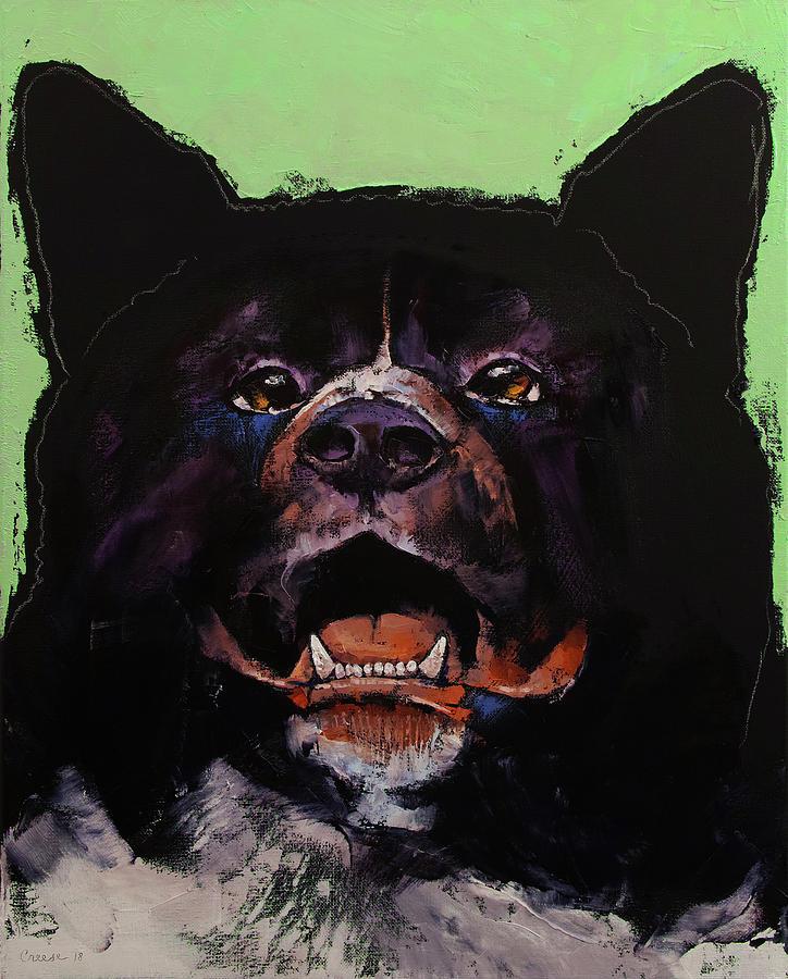Dog Painting - Akita by Michael Creese