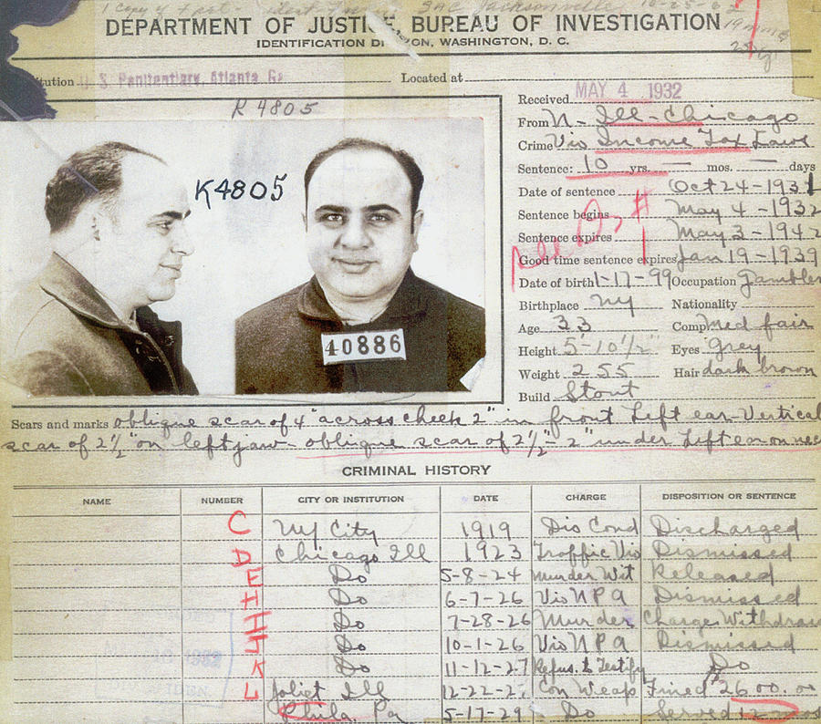 Al Capone Painting - Al Capone Arrest Record by American School