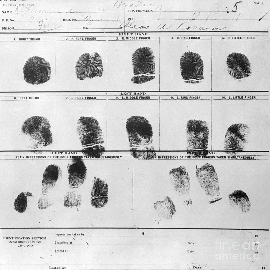 Al Scarface Capones Fingerprints Photograph by Bettmann