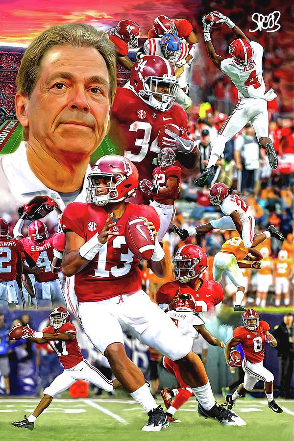 Mark Spears Painting - Alabama Football 2018 Team by Mark Spears