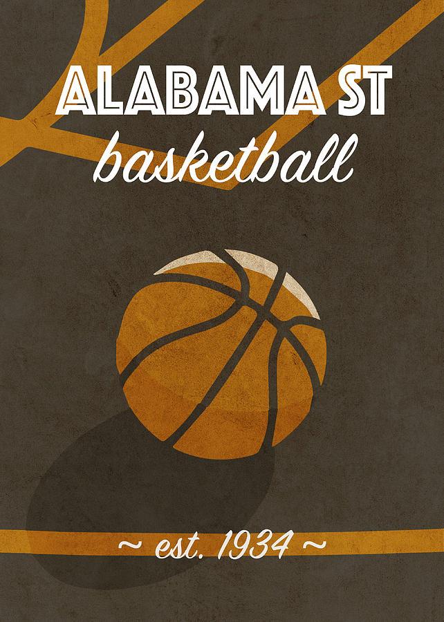 Alabama Mixed Media - Alabama St University Retro College Basketball Team Poster by Design Turnpike