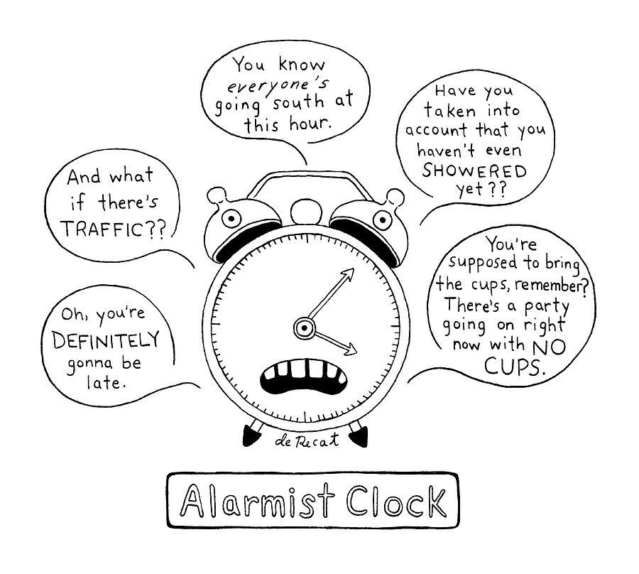 Alarmist Clock Drawing by Olivia de Recat