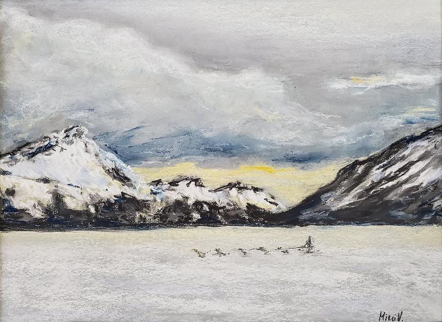 Alaska Glacier and Dog Sled by Maria Langgle