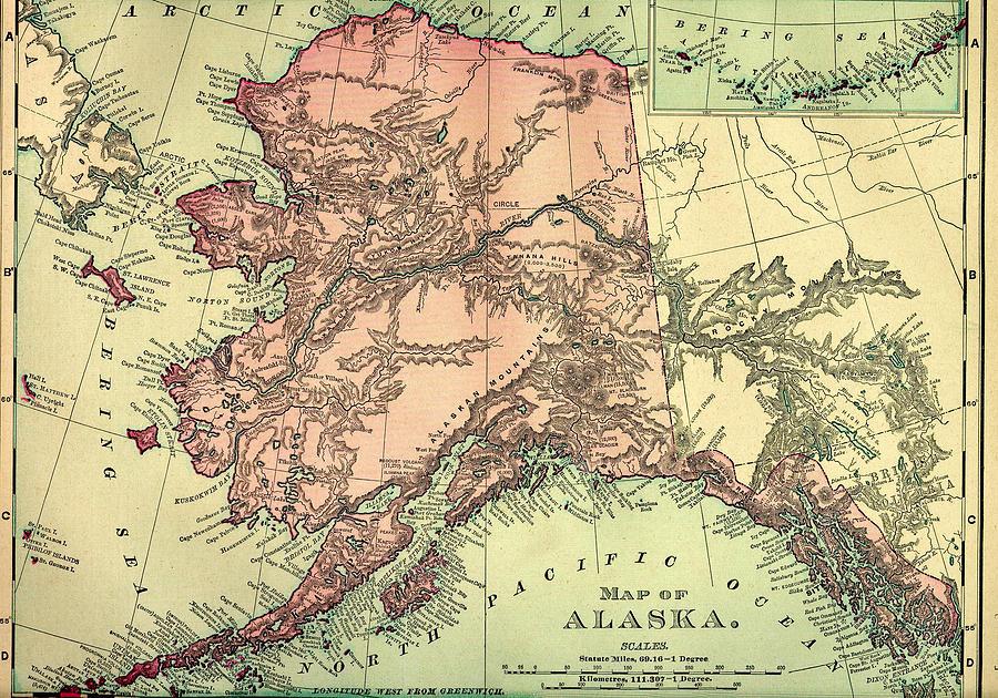 Alaska Old Map Digital Art by Nicoolay