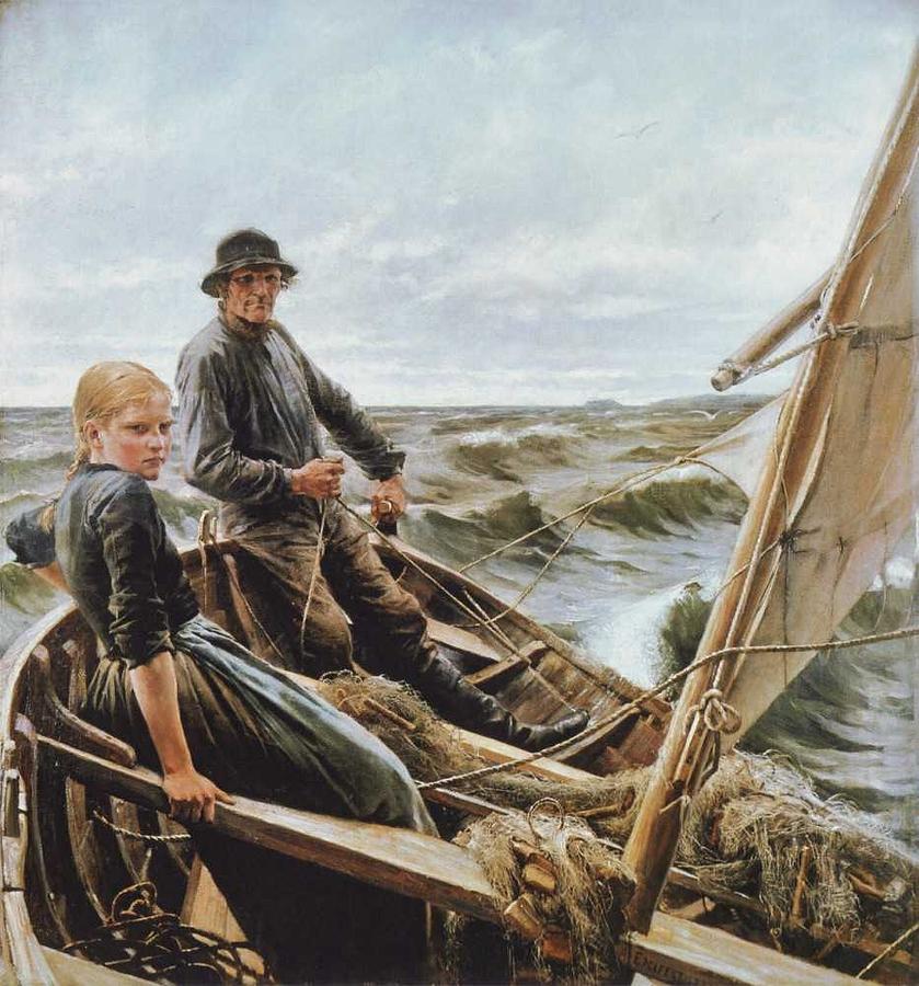Wave Painting - Albert Edelfelt - On The Wave by Albert Edelfelt
