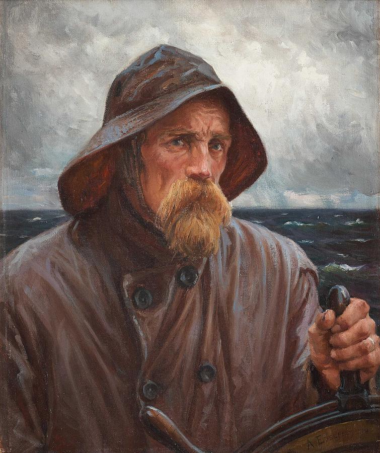 ALBERT EDELFELT, THE HARBOUR PILOT  A SAILOR FROM UUSIMAA 1894 by ALBERT EDELFELT