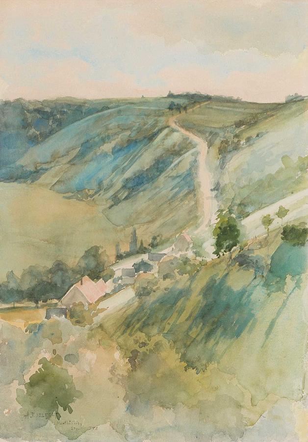 ALBERT EDELFELT, watercolour,   1888. Landscape from France by ALBERT EDELFELT