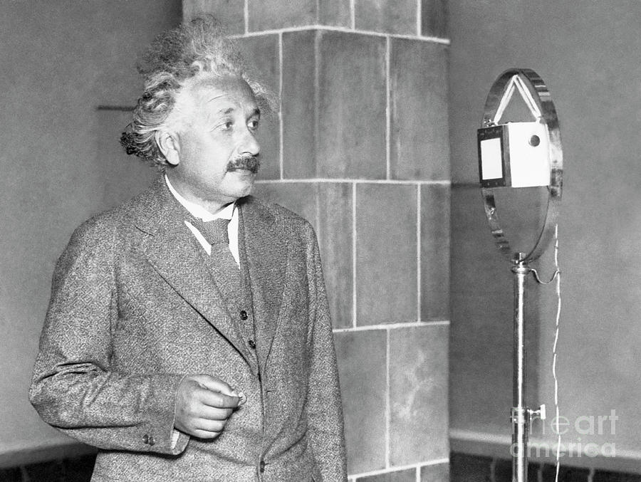 Albert Einstein Congratulating Thomas Photograph by Bettmann