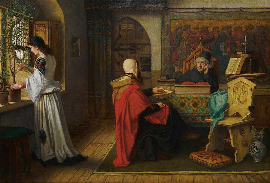 ALBERT FRANS LIEVEN DE VRIENDT, Belgian, 1843-1900, Interior Scene, 1869 by ALBERT FRANS LIEVEN DE VRIENDT