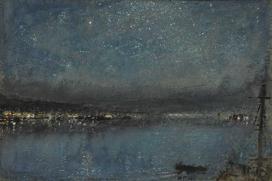 Albert Goodwin, R.W.S. 1845-1932 STARS SILENT OVER US, THE WHITE MANS GRAVE, SIERRA LEONE by Albert Goodwin