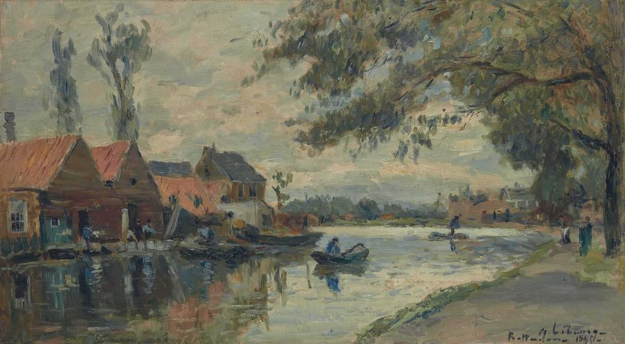 Albert Lebourg 1849-1928 Canal in Rotterdam by Albert Lebourg