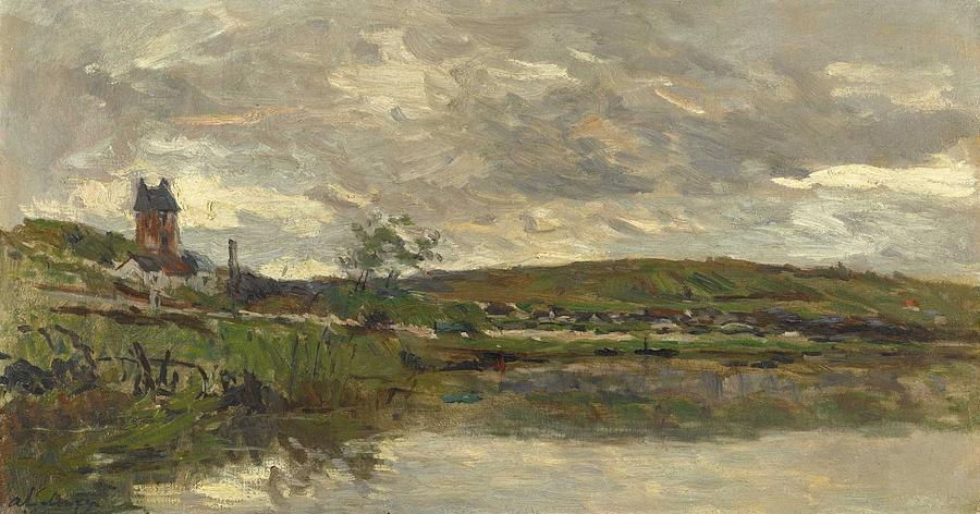 Albert Lebourg 1849 - 1928 THE SEASIDE OF THE SEINE IN VETHEUIL, COVERED TIME by Albert Lebourg