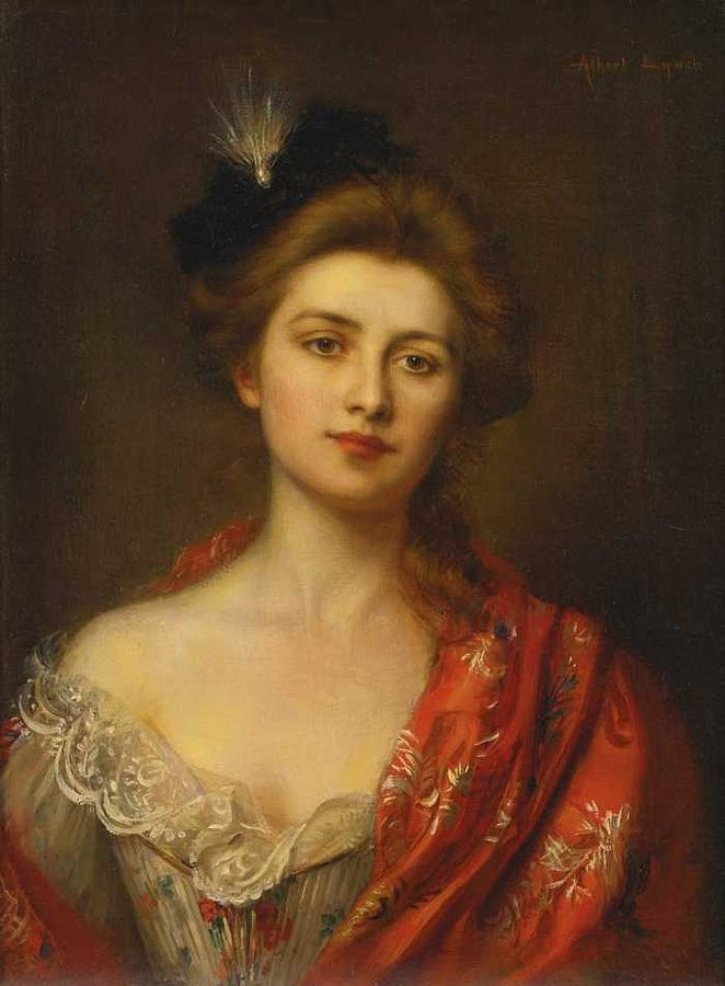 Albert Lynch Peruvian, 1851-1912,  Woman in a Red Embroidered Shawl by Albert Lynch