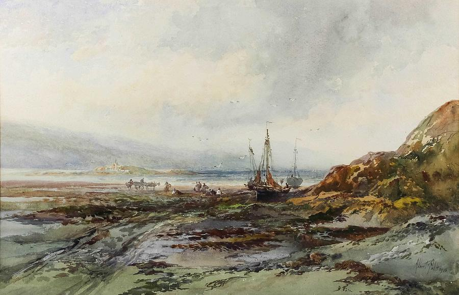 Albert Pollitt 1856-1926 - Four watercolours - Coastal scene with fishing boats drawn up on to the by Albert Pollitt