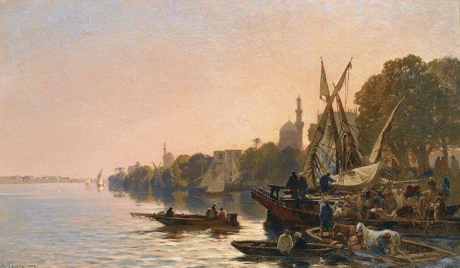 ALBERTO PASINI 1826 - 1899 A FERRY ON THE NILE 1861 by ALBERTO PASINI