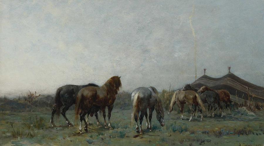 Alberto Pasini 1826 - 1899 ITALIAN AN ARAB ENCAMPMENT by Alberto Pasini