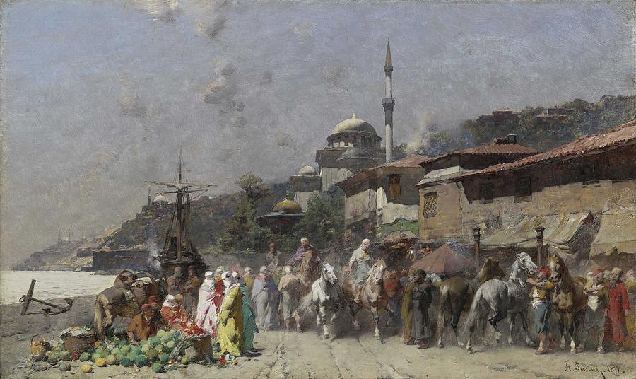 Alberto Pasini - Marketplace on the Bosporus, Constantinople and the New Mosque beyond 1871 by Alberto Pasini