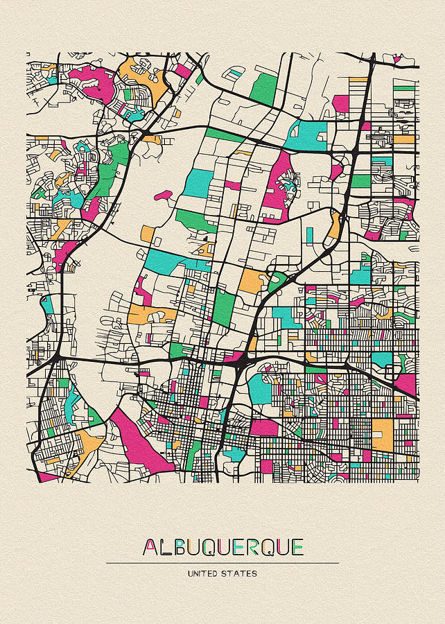Albuquerque, New Mexico City Map Drawing by Inspirowl Design