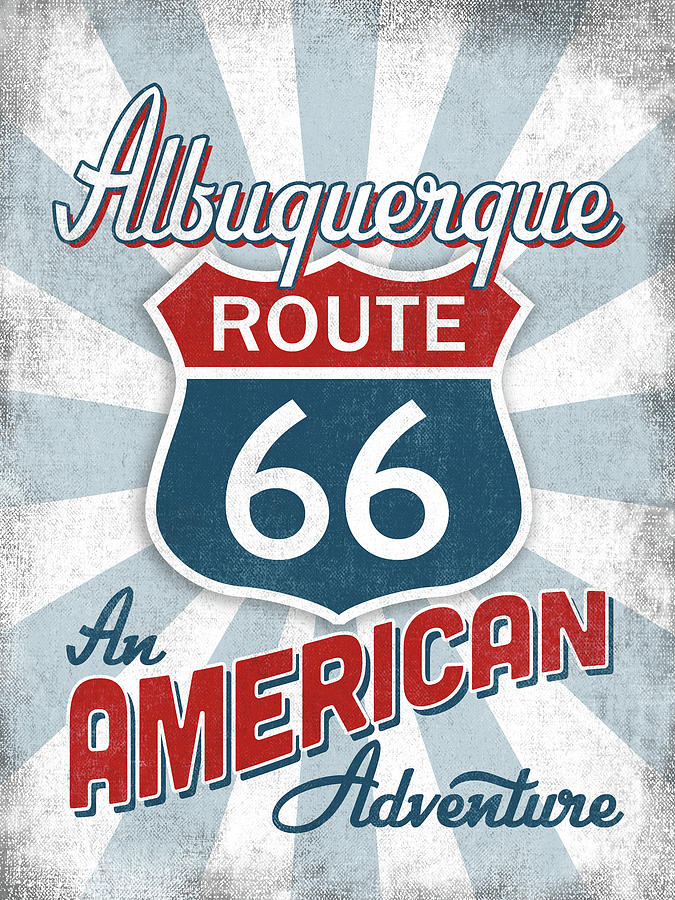 Albuquerque Digital Art - Albuquerque Route 66 America by Flo Karp