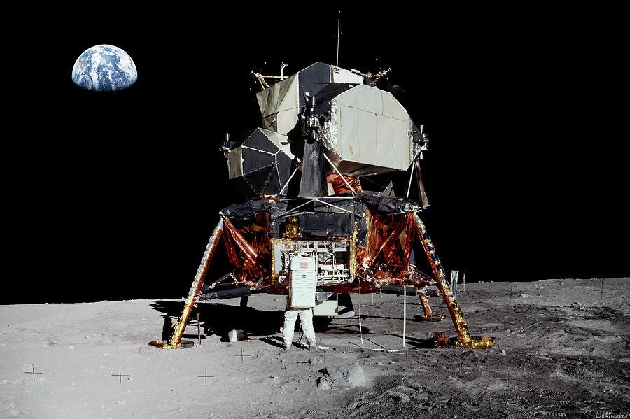 Aldrin and Apollo 11 Lunar Module Eagle panorama by Weston Westmoreland